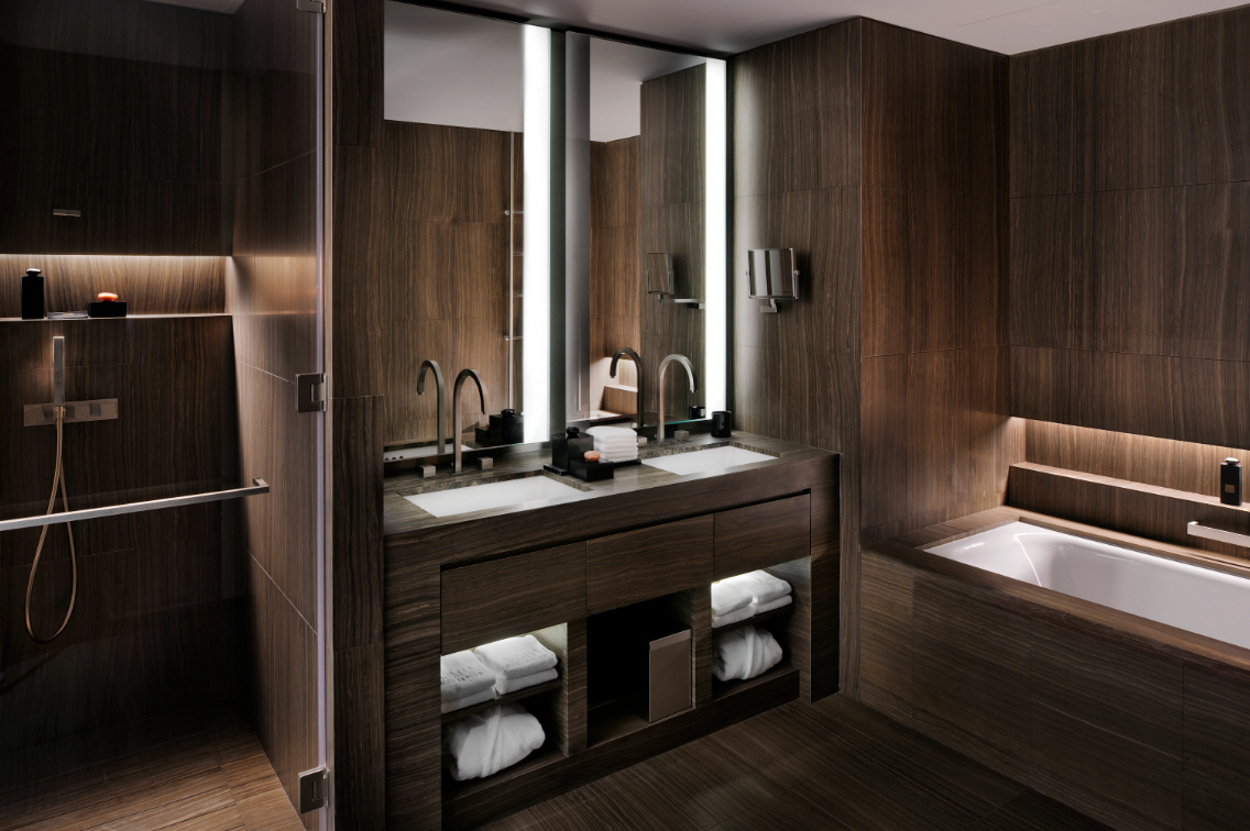 Shockblast armani hotel dubai bathroom wooden 1 shockblast for Wooden hotel design