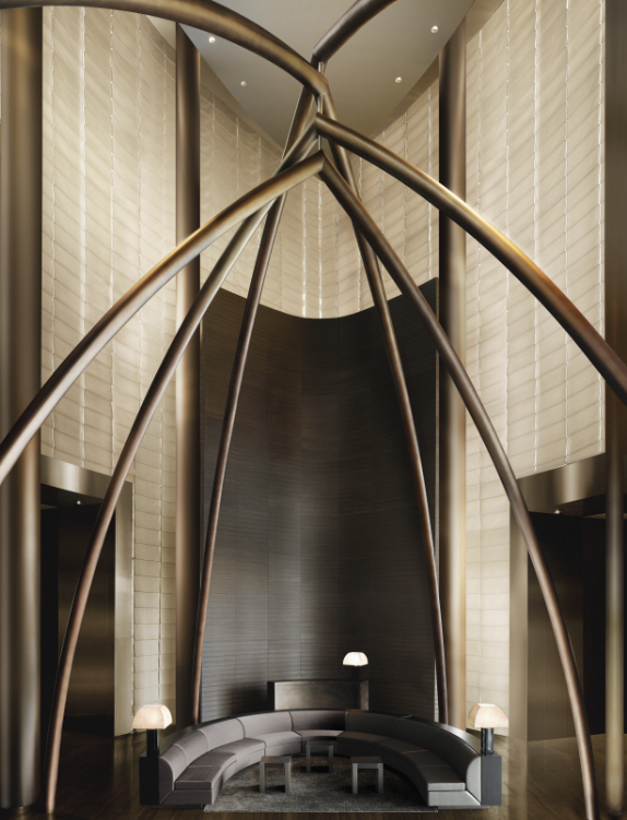 Shockblast armani hotel lobby lounge area bronze sculpture