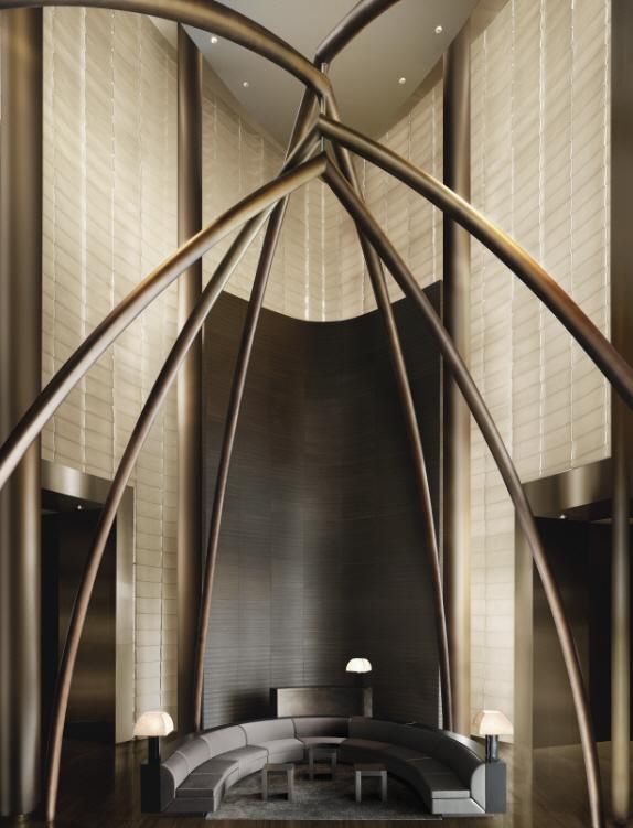 Shockblast armani hotel lobby lounge area bronze sculpture