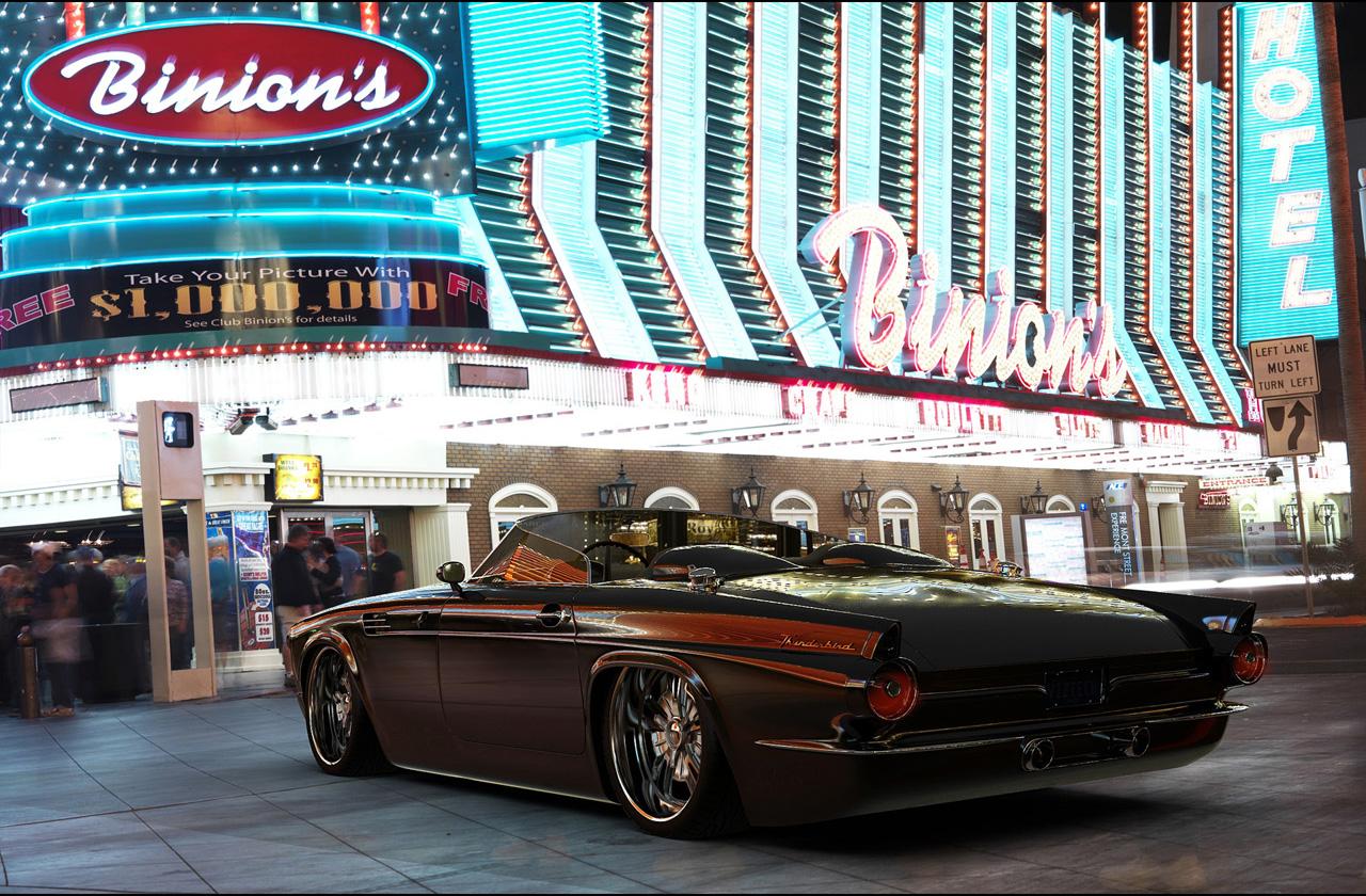 shockblast 1955 ford thunderbird custom from vizualtech brown rear and