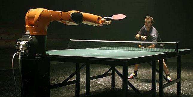 Ping Pong match between robot and man - ShockBlast