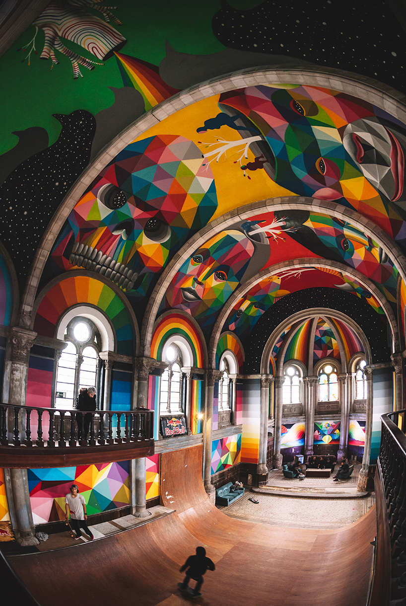 Okuda san miguel paints inside a 100 year old church in for A 100 paint