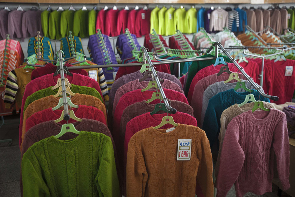 A North Korean-made sweaters are on display for sale at Pyongyang Department Store No. 1 in downtown Pyongyang, North Korea.