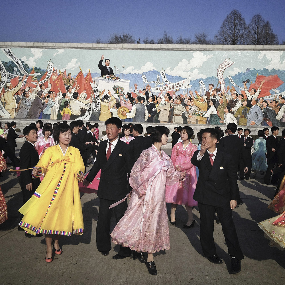 In this April 11, 2013 photo, North Koreans practice traditional folk dancing in Pyongyang, North Korea. (AP Photo/David Guttenfelder)