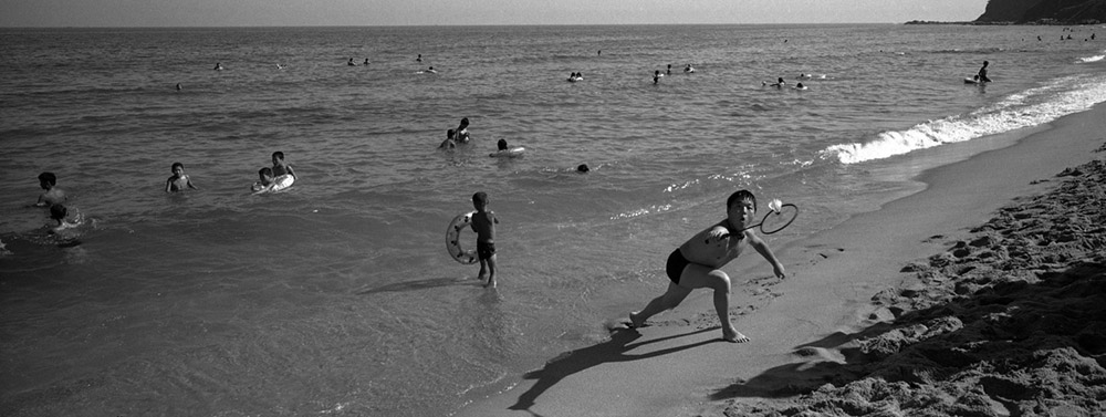 North Koreans plays badminton at Majon Beach near Hamhung, North Korea.